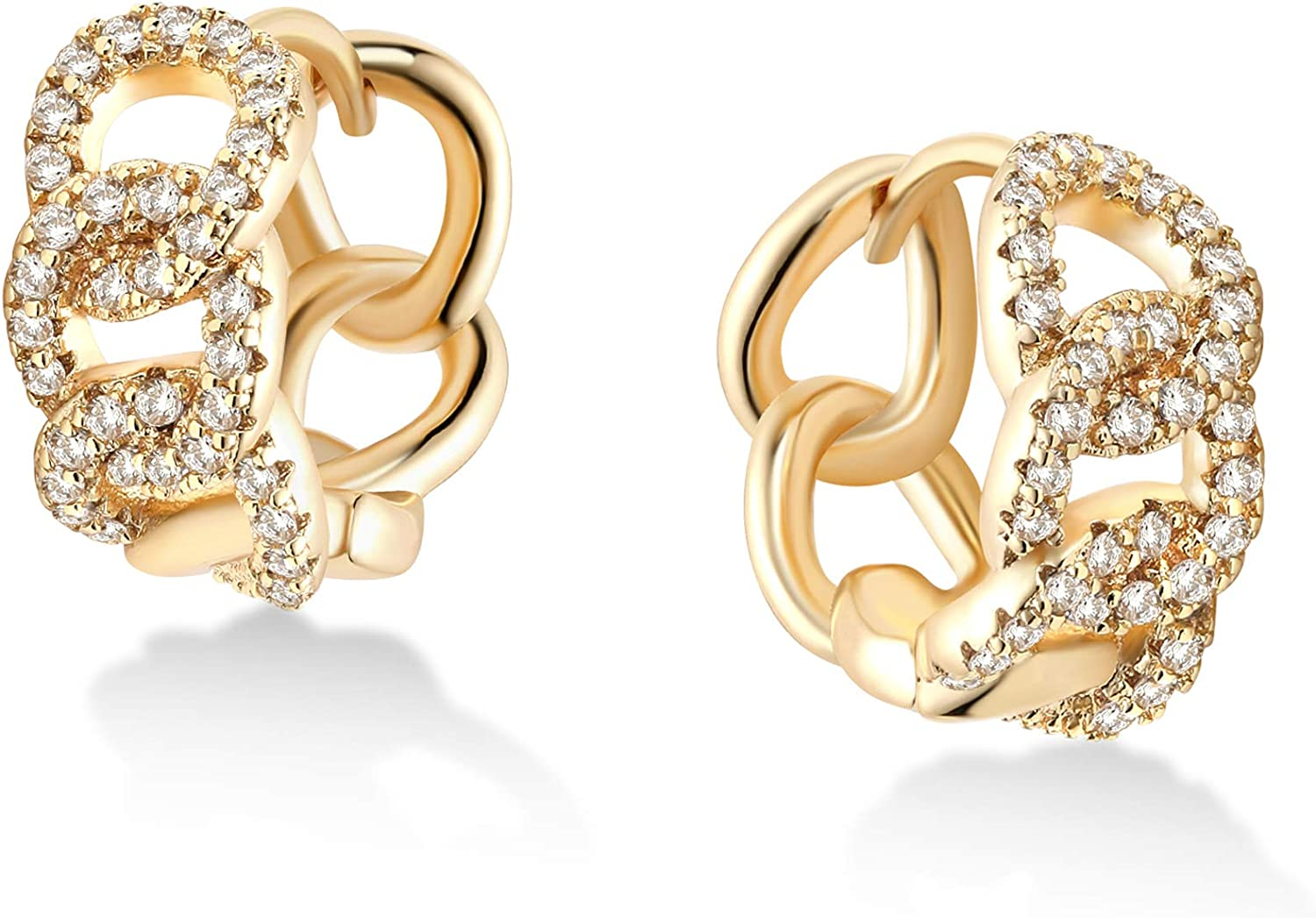 Small Huggie hoop earrings with 6 claws and zirconia