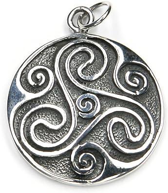 Triskelion Shild Schmuck Anhänger 925 Silber, Länge mit Öse: 3cm keltischer Schmuckanhänger