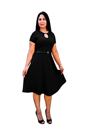 DBG Womens Black Polyester Short Sleeves Belt Dress-Extra Small