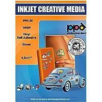 PPD 10 Sheets Inkjet Creative Media Glossy Self Adhesive PVC Vinyl Sticker Paper 8.5x11 True Photographic Quality 4.1mil…