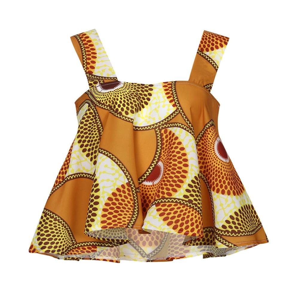 Goodtrade8 Womens African Printing Loose Fit Tops Blouse Clearance Ruffle Wide Stap T-Shirt