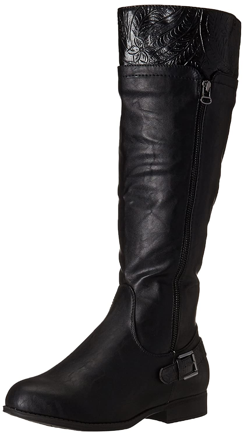 Easy Street Women's Burke Riding Boot B00ZFUECI6 5.5 B(M) US|Black/Tooling/Gore