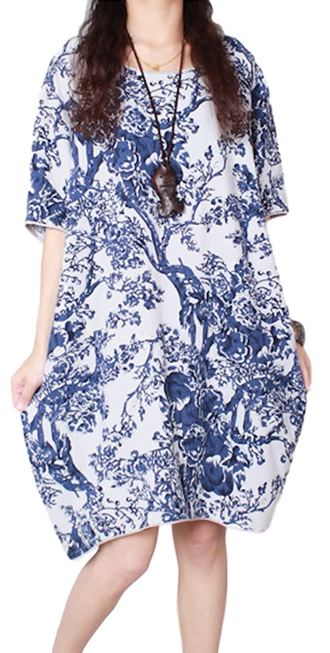 e4461aaa7167 sekitoba-japan.inc Asian Long Short Dress with Pockets for Women Casual and Vintage  Clothing (X Large
