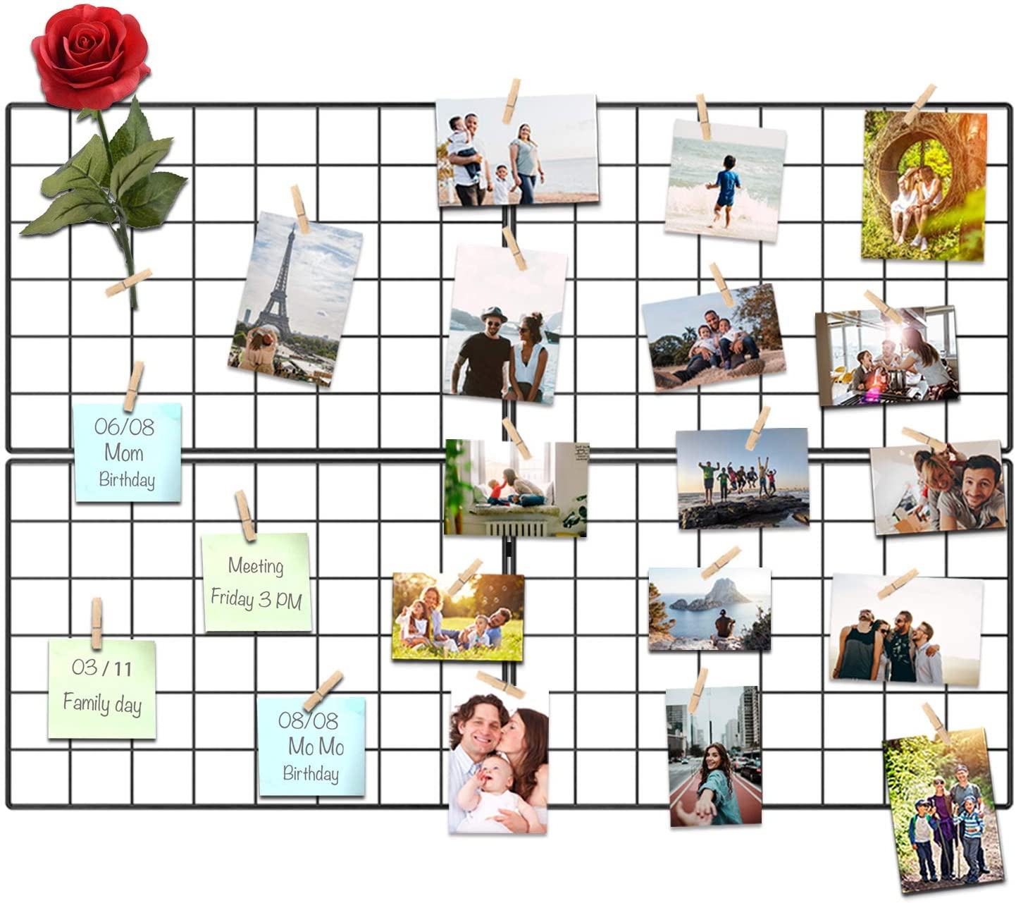 Kakivan Wire Wall Grid Panel for Photo Display, DIY Iron Picture Frames Collage for Hanging Wall Decor, Foldable Multi Pictures Organizer with 12 Clips, 28'' X 22'' Inch. (2 Pack)
