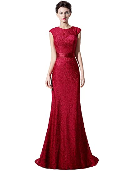 Sarahbridal Womens Long Lace Mermaid Evening Prom Dresses Jewel Backless Party Gowns SLX018 Fuchsia UK18