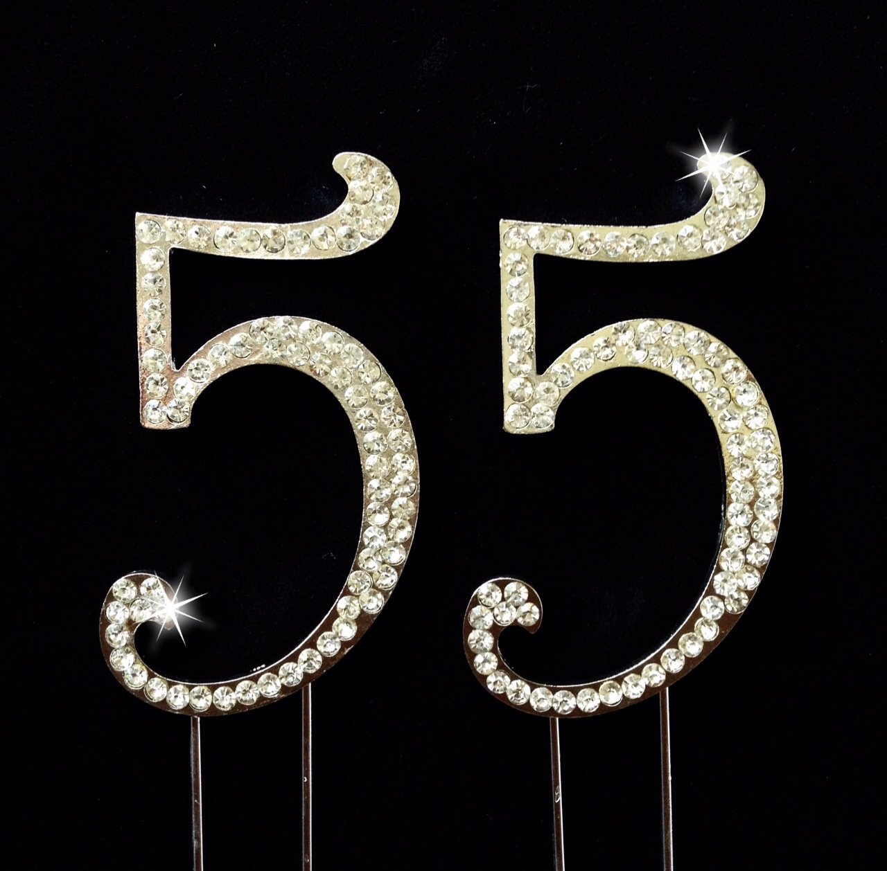 55th Birthdaywedding Anniversary Number Cake Topper With Sparkling