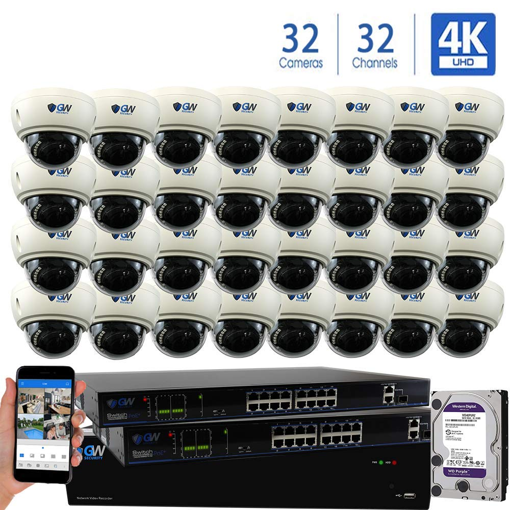 GW 32 Channel 8MP UltraHD 4K 3840×2160 Audio Video Motorized Zoom Home NVR Security System – 32 x Dome 8 Megapixel 2.8-8mm 3X Optical Zoom Waterproof IP PoE Cameras Built-in Microphone