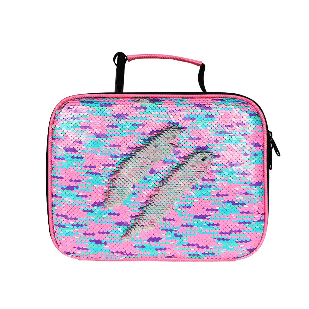 Sequin Lunch Boxes For Girls Insulated Reusable Lunch Bag for Kids (RainbowPink)