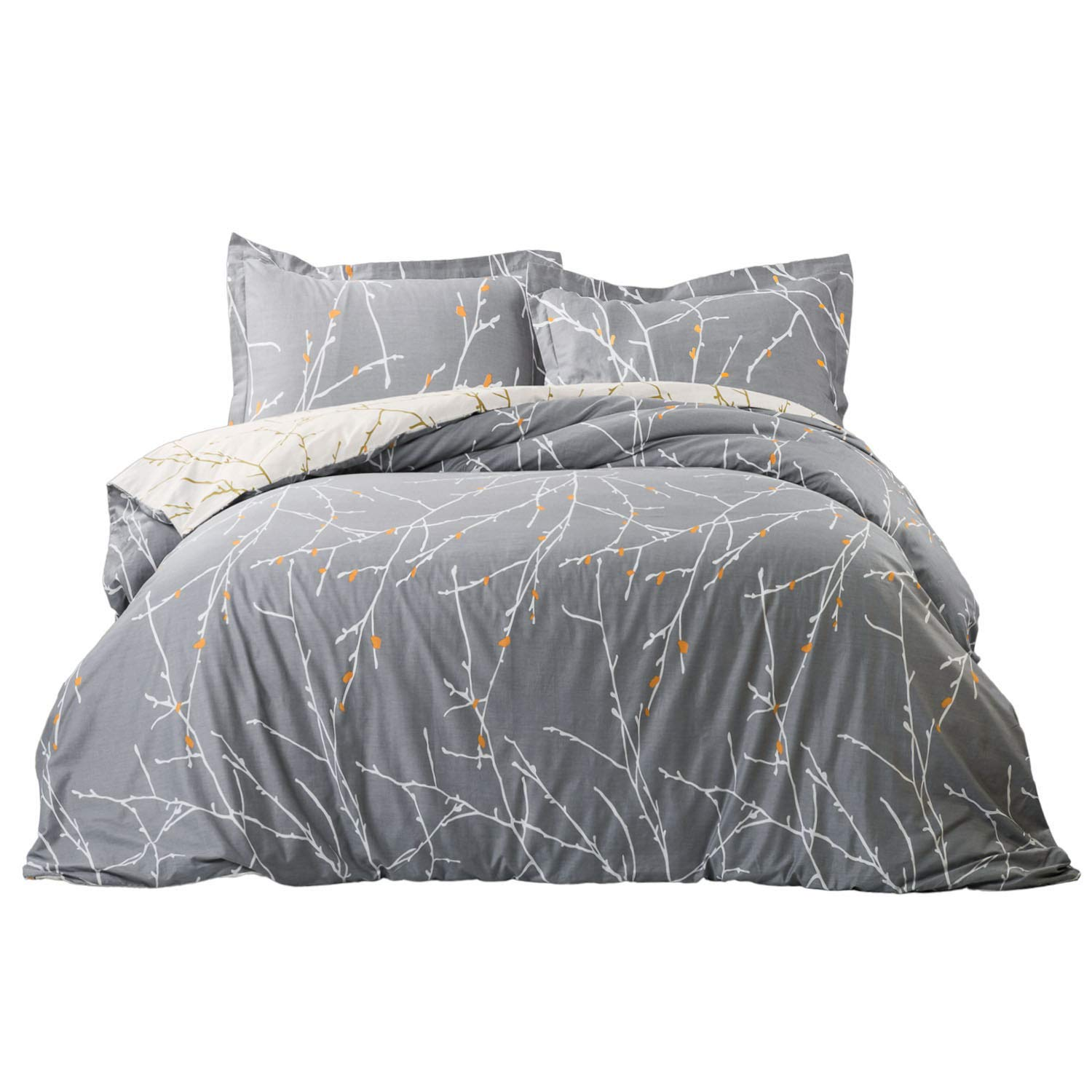 Bedsure 100% Cotton Duvet Cover Set Full Queen Size Grey/Ivory Reversible Comforter Cover Tree Branch Bedding Sets (1 Duvet Cover + 2 Pillow Shams) by Bedsure (Image #1)
