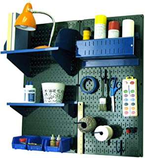 product image for Wall Control Pegboard Hobby Craft Pegboard Organizer Storage Kit with Green Pegboard and Blue Accessories