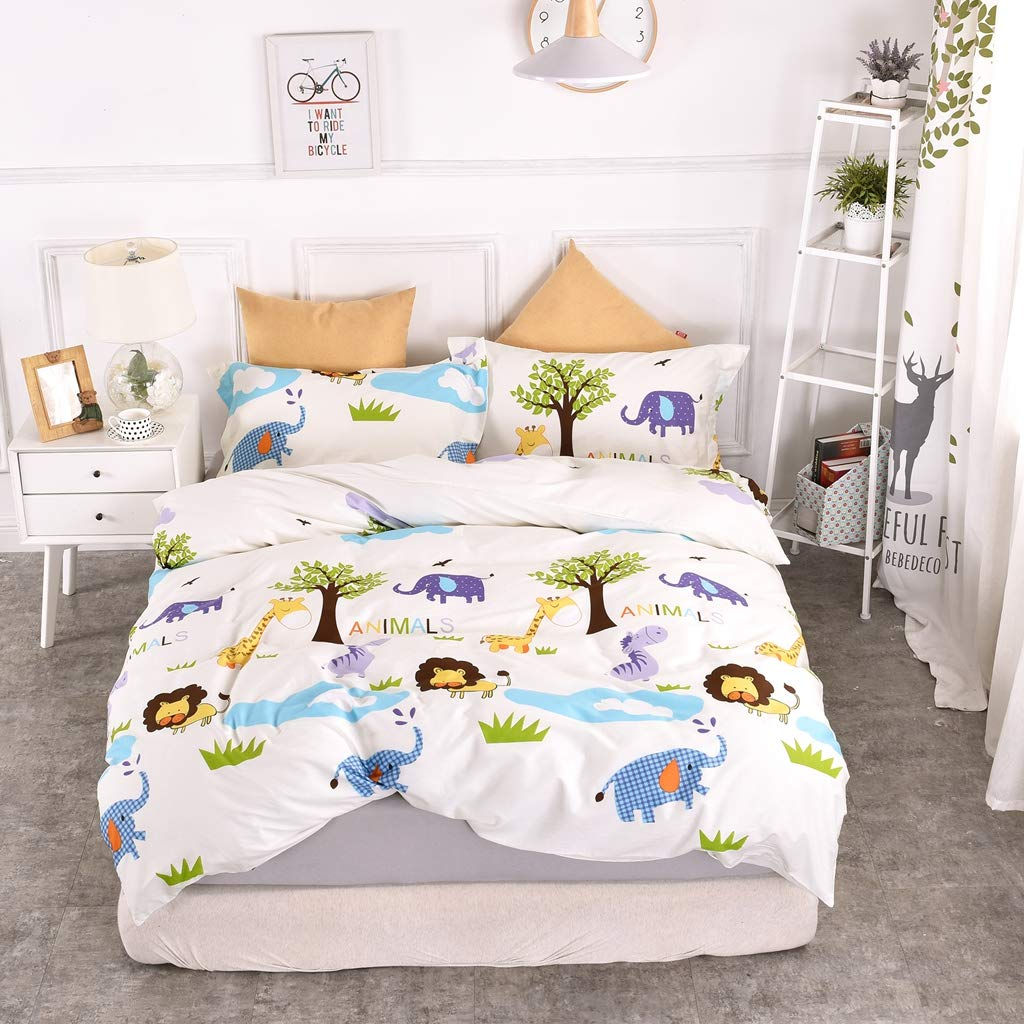 Chesterch Prevoster Kids Duvet Cover Set 100% Organic Cotton,Cartoon animals Cute Bedding Boys Reversible Comfortable,3 Pieces Comforter Cover and 2 Pillowcases,Twin Size by Chesterch Prevoster (Image #1)