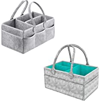 2 Pcs Diaper Caddy Organiser Portable Large Diaper Caddy Tote with Changeable Compartments, Foldable Portable Car Travel…