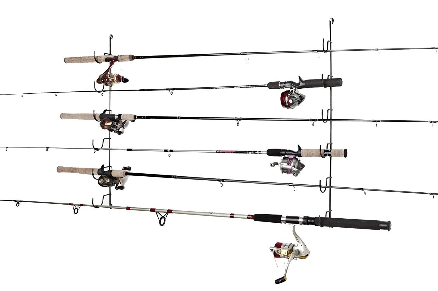 Fishing rod rack pole holder storage organize horizontal for How to store fishing rods