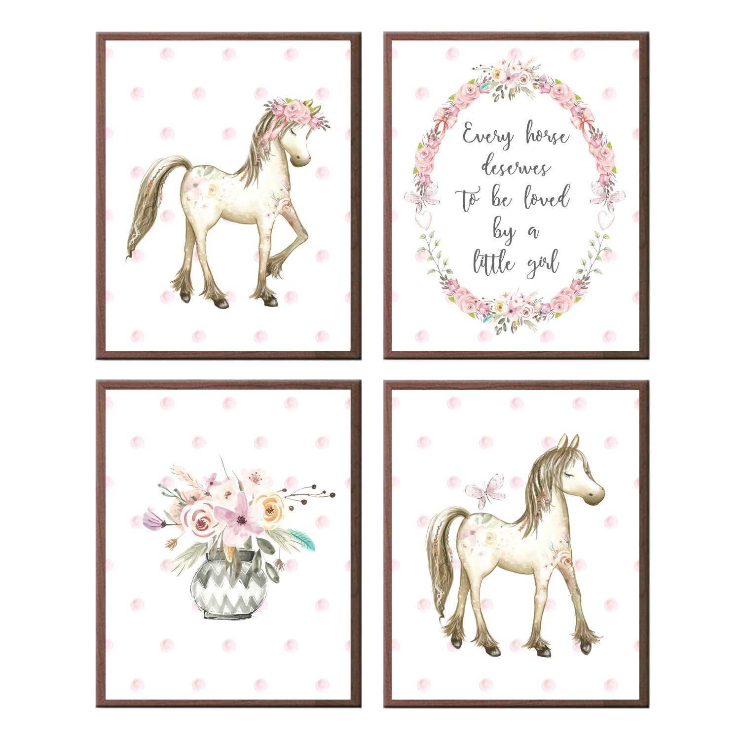 Horse Wall Art Every Horse Deserves to Be Loved by A Little Girl Pink Flowers Pony (Set of 4 Prints)