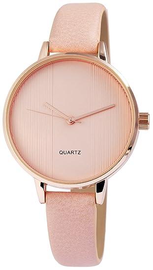 Reloj mujer Rosa Oro Pizarra analógico de cuarzo piel Reloj de pulsera