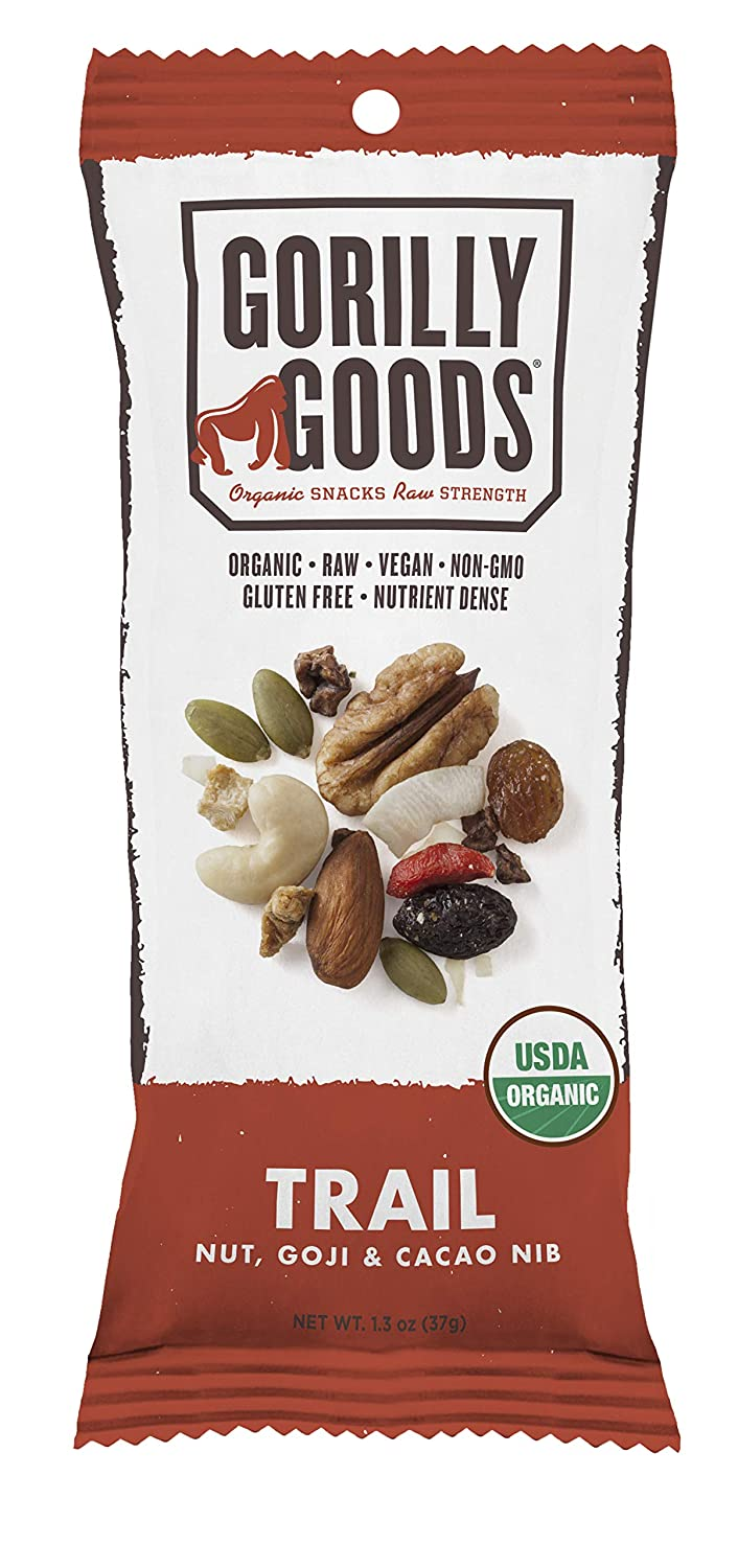 Gorilly Goods Organic Raw Vegan Sprouted Superfood Trail Mix Grab & Go Snack Packs (TRAIL - Cashews, Almonds, Pecans, Goji, Berries, Coconut & Cacao Nibs) Antioxidant Snack Pack 1.3 Ounce Bags (12 ct)