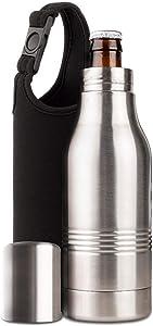 Strova Beer Bottle Insulator - Stainless-Steel Insulated Bottle Holder w/Double-Walled Insulation – Beer Cooler Keeps Drinks Colder, Longer (Includes Carry Bag)