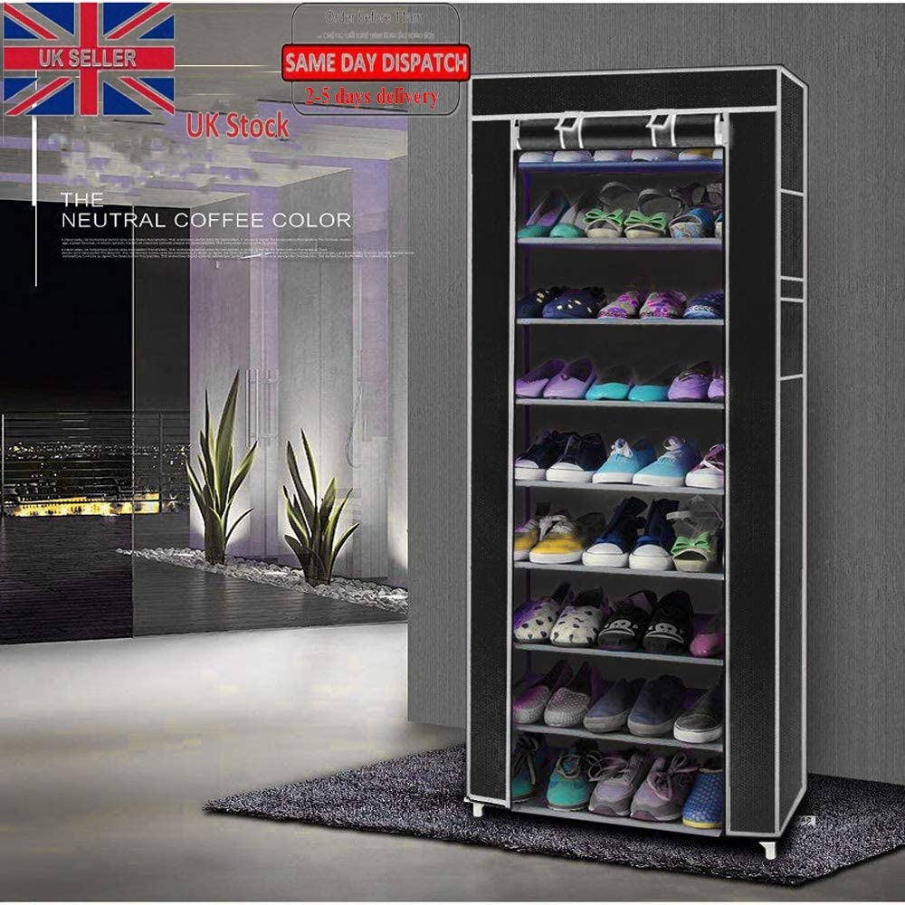 Tom Care 10 Tier Shoe Rack Shoes Cabinet Storage Organizer Closet with Dustproof Nonwoven Fabric Cover Holds 27 Pairs
