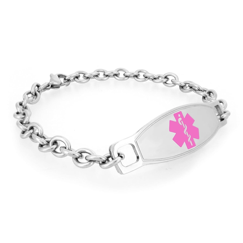 MedicEngraved Womens Surgical 316L Stainless Steel Medical ID Link Bracelet with Pink Enamel Medical Tag Leviev Ltd. MBR-NSS-PNK2-7