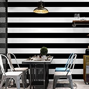 Blooming Wall Wide Stripes Peel and Stick Wallpaper Wall Mural Wall Decor, (Black&White)