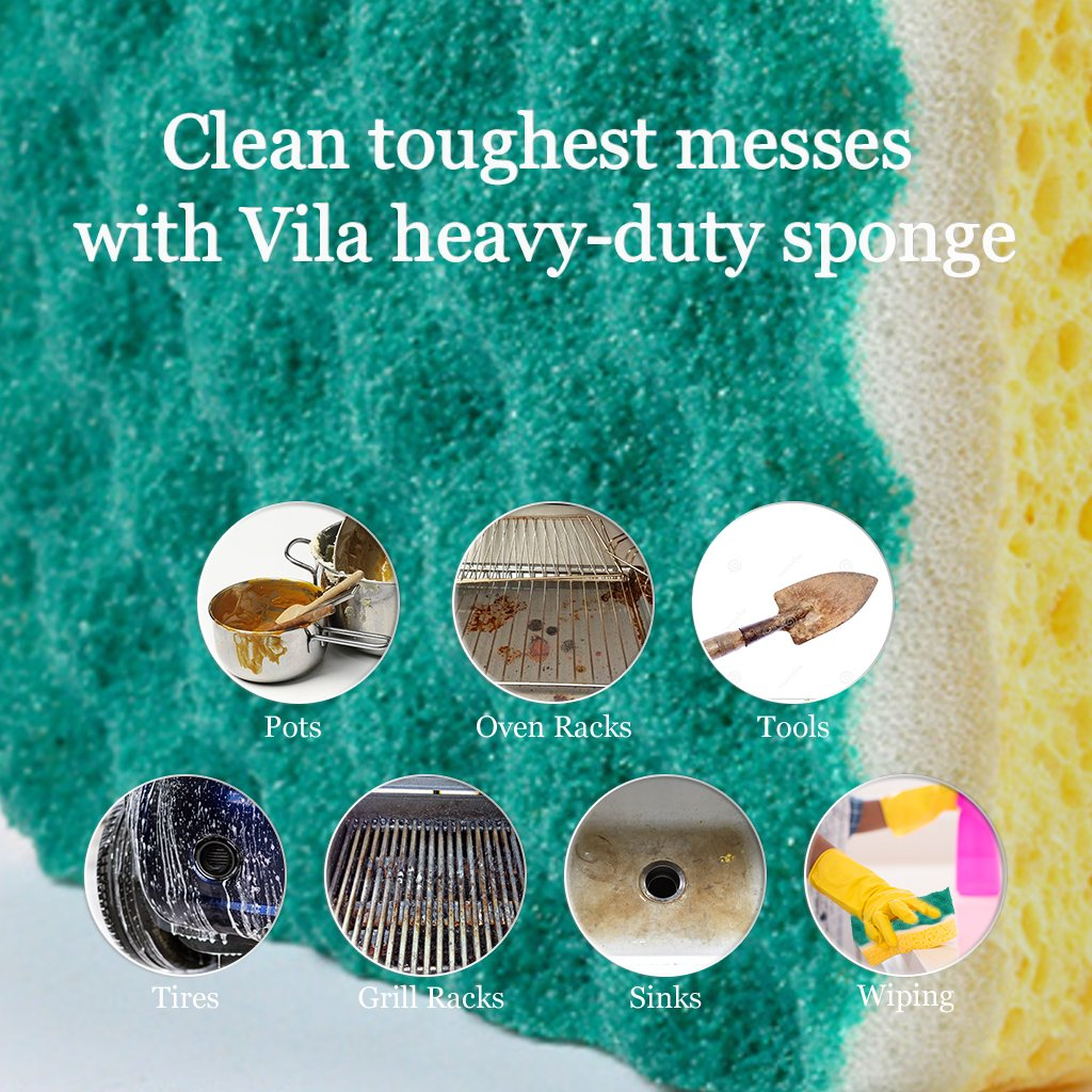 Vila 6-Pack Scrub Sponge - with Triple-Cleaning System - Heavy-Duty and Odor-Resistant - Tough on Grease but Gentle on Delicate Surfaces - 1 Pad Lasts Over a Month RedBearSong
