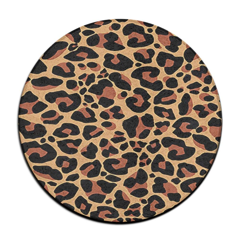 HYTRG Animal Leopard Print Round Seat Cushion Anti Slippery Machine Washable Round Office Chair Cushion Pad Stool Slipcover Mat Rug 16 Inch