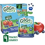 GoGo squeeZ Unsweetened Applesauce Pouches, Apple Blueberry Flavour, Nut-Free School Snack for Kids, 4 Pouches of 90…