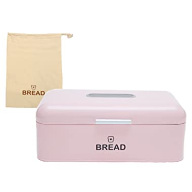 Vintage Bread Box For Kitchen Stainless Steel Metal 16.5  x 9  x 6.5  with viewing window + FREE Bread Bag; Large Bread, Loaves, Pasgtires Bin storage (Pink)