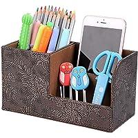 BTSKY Desk Pen Pencil Holder Leather Multi-Function Desk Stationery Organizer Storage Box Pen/Pencil,Business Name Cards…
