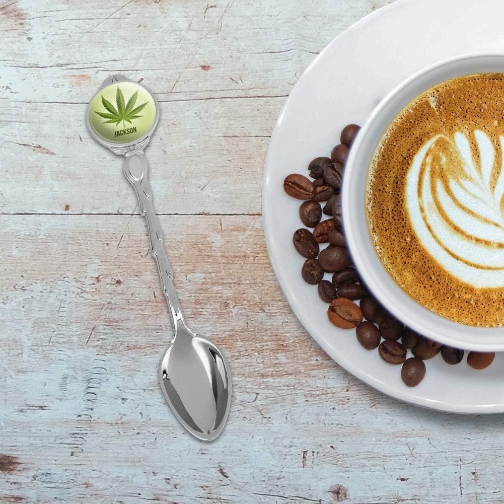 Personalized Custom 1 Line Marajuana Leaf Novelty Collectible Demitasse Tea Coffee Spoon