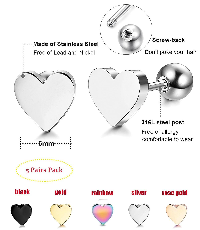 LOYALLOOK 5-6 Pairs Stainless Steel Heart Stud Earrings Barbell Piercing Studs for Women Men Teens TI082403