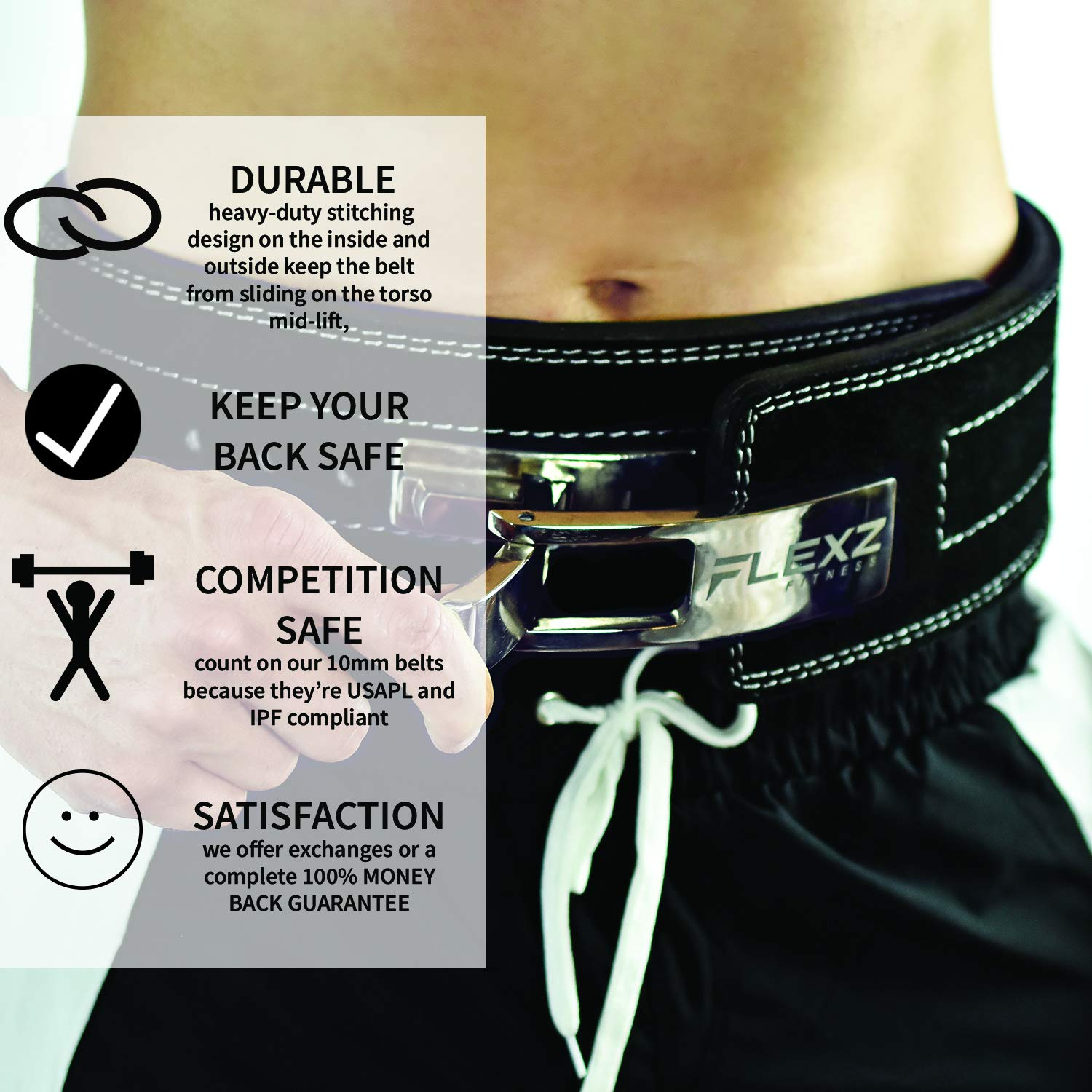 Flexz Fitness Lever Buckle Powerlifting Belt 10mm Weight Lifting Black Medium by Flexz Fitness (Image #4)