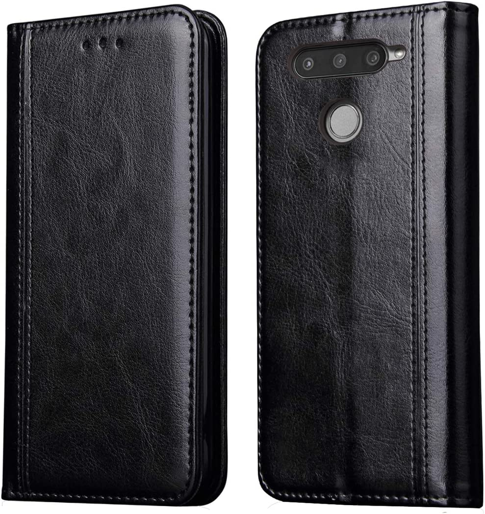 LG V40 ThinQ Case,LG V40 Case,RUIHUI Folding Flip Kickstand Leather Protective Case Cover with Card Slots and Magnetic Closure for LG V40 Thinq/Storm 2018[Luxury Edition],Black
