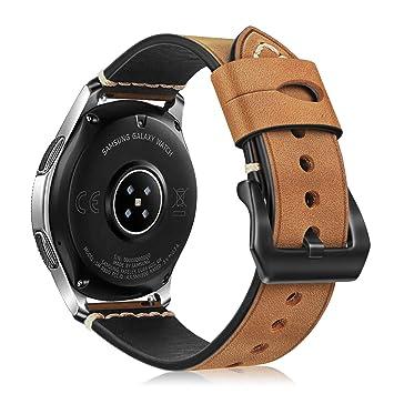 FINTIE Correa para Samsung Galaxy Watch 46mm / Gear S3 Frontier/Gear S3 Classic/Huawei Watch GT - 22mm Pulsera de Repuesto Suave de Cuero Auténtico ...