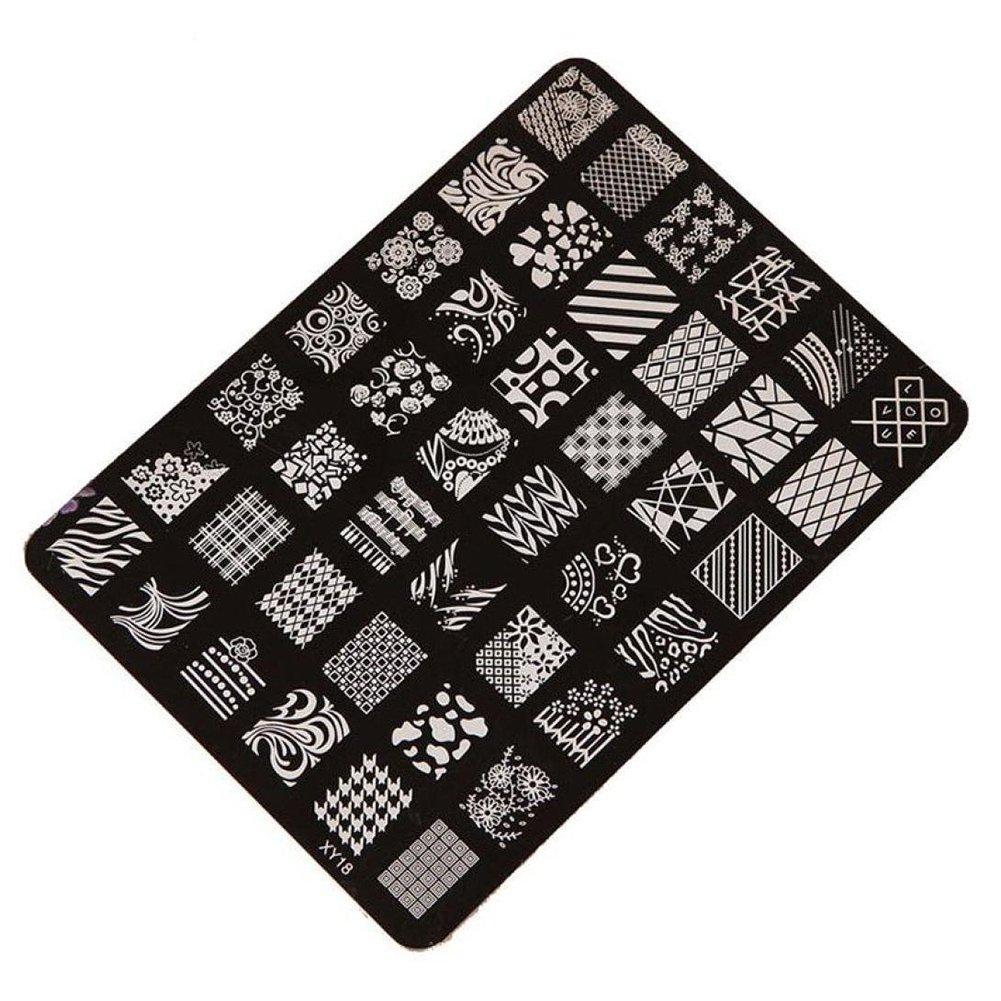 Demarkt Moda Imagen de placa de impresión estampación sellos manicura Nail Art decoración de uñas (negro 3)