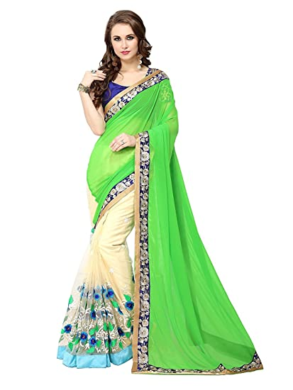 0447aea723f3ff Ambika Sarees Collection Embroidered Green And Beige Half And Half Georgette  Saree With Blouse Material