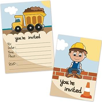 amazon com construction dump truck kids birthday party invitations