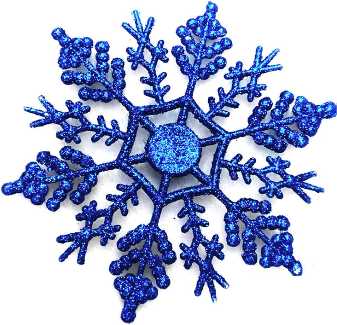24 Pcs Large Snowflakes Acrylic Sparkling Glitter Snowflake Ornaments for Christmas Tree Home Wedding Party Window Party Decor Winter Decoration,Blue