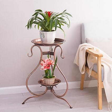 Estante de flores de madera ---- Hierro Pie Triángulo Balcón Maceta De Doble