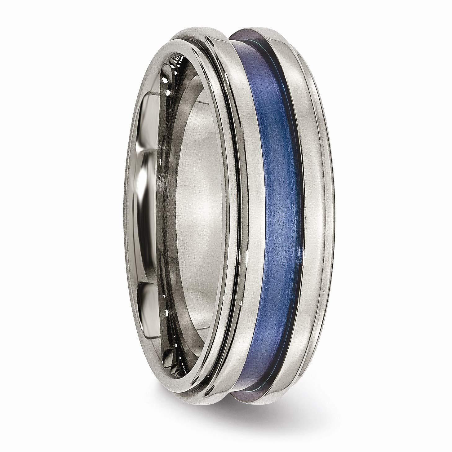Black Bow Jewelry 8mm Titanium Blue Groove Ridged Edge Polished Band