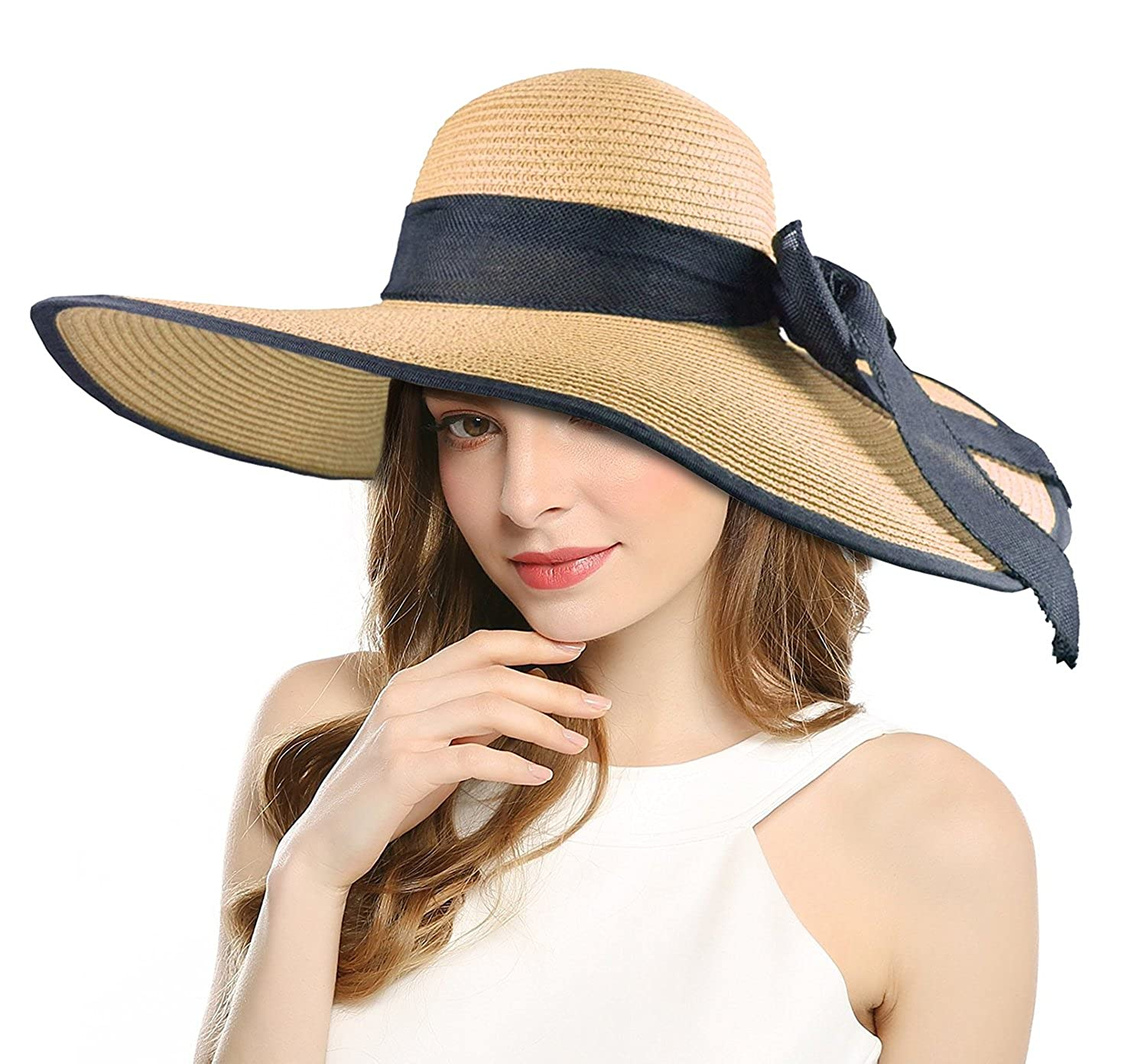 d00b719a55e57 Women s Beachwear Sun Hat Striped Straw Hat Floppy Big Brim Hat Black Beige  at Amazon Women s Clothing store