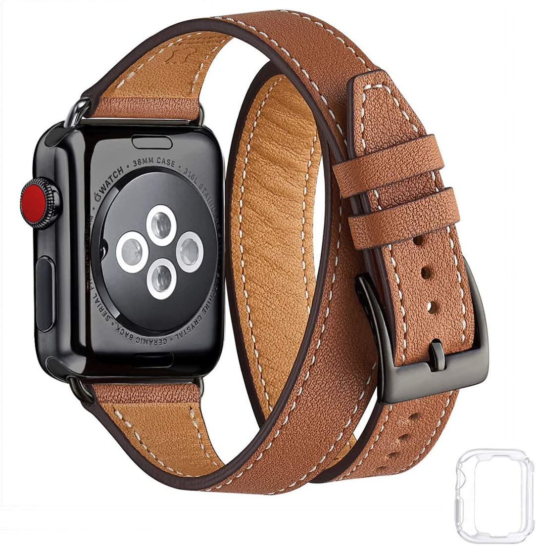 Bestig Band Compatible for Apple Watch 38mm 40mm 42mm 44mm, Genuine Leather Double Tour Designed Slim Replacement iwatch Strap for iWatch Series 6 SE 5 4 3 2 1 (Brown Band+Black Adapter, 42mm 44mm)