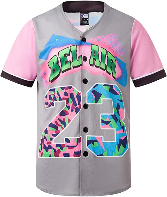 MOLPE 90s Hip Hop Clothing for Men and Women, Unisex Bel Air 23 Baseball Jersey, Mens Printed Urban Shirts for Party