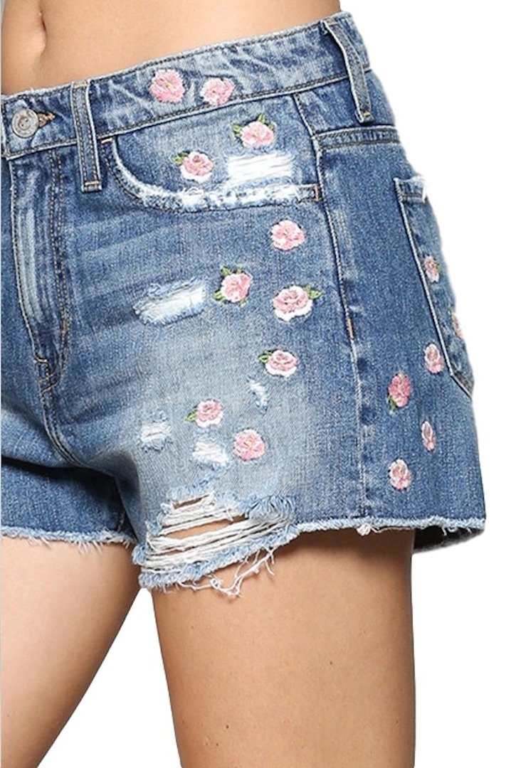 Flying Monkey Jeans Love Sick High Rise Pink Floral Embroidered Cut Off Shorts Y1295 (30) by Flying Monkey (Image #2)