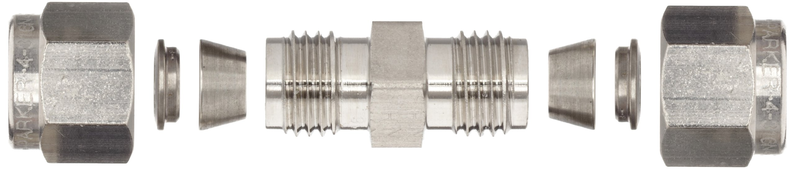 Parker 4SC4-316 316 Stainless Steel A-LOK Union 1/4'' Compression Fitting 1/4'' Compression by Parker (Image #4)