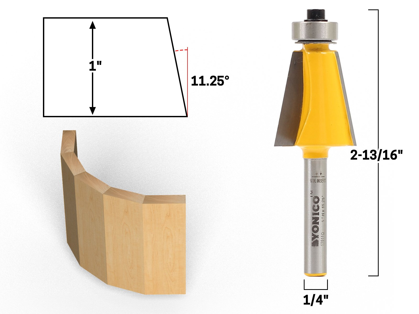 Yonico 13911q 11.25 Degree Bevel Edge Forming Router Bit 1/4-Inch Shank
