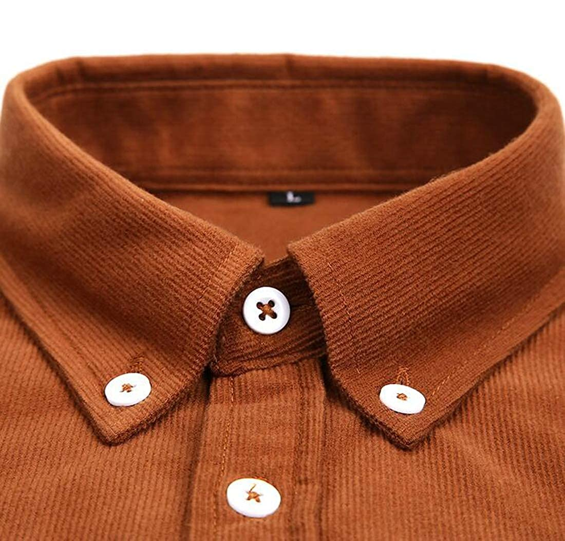 Cromoncent Mens Corduroy Button Down Casual Solid Color Slim Fit Shirt