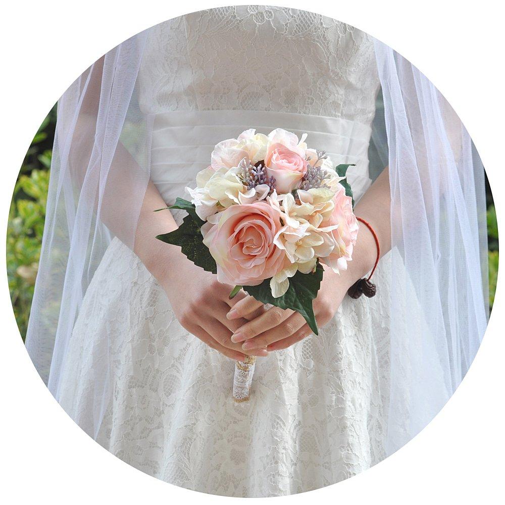 AzaleasのウェディングブライダルBouquetsウェディングブライダルブーケ牡丹の持株花ブライダルブーケ人工結婚式 B07D3P1HT6
