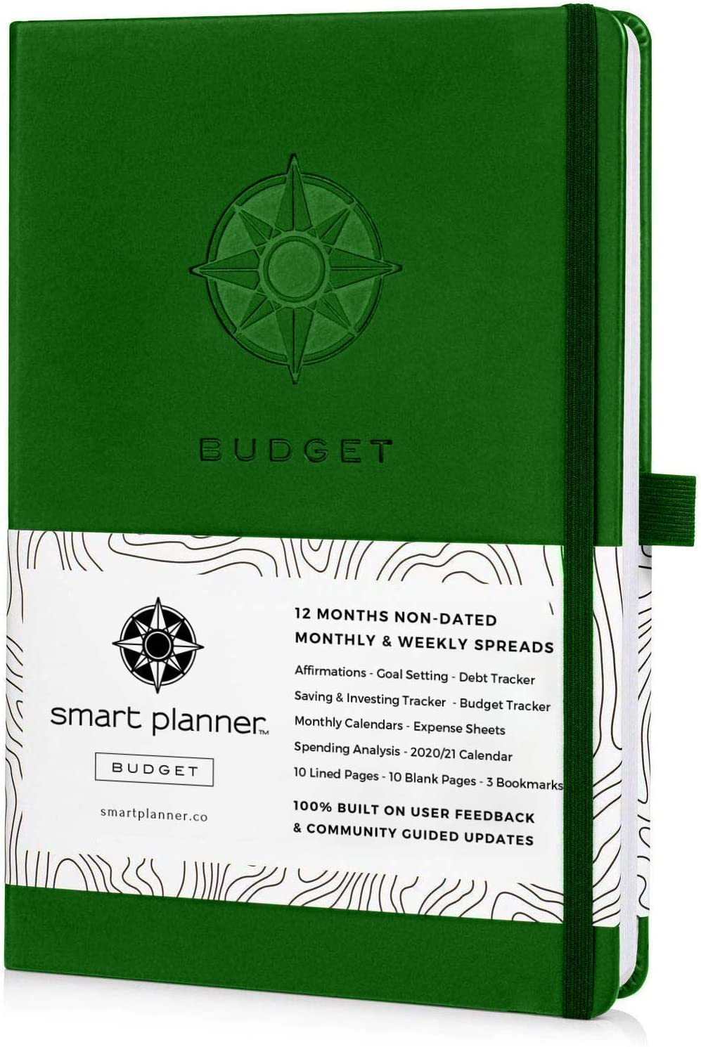 Smart Planner Budget Book – Budget Planner Organizer with Calendars, Debt Tracker, Expense Sheets, Savings Trackers and More – Inner Pocket for Receipts – Non-Dated (Green)