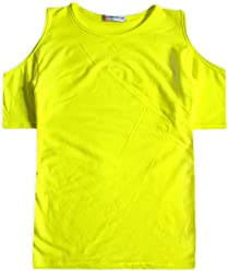Girls Neon Cold Shoulder Top New Kids Stretch Summer T-Shirt Tee Age 5-13 Years